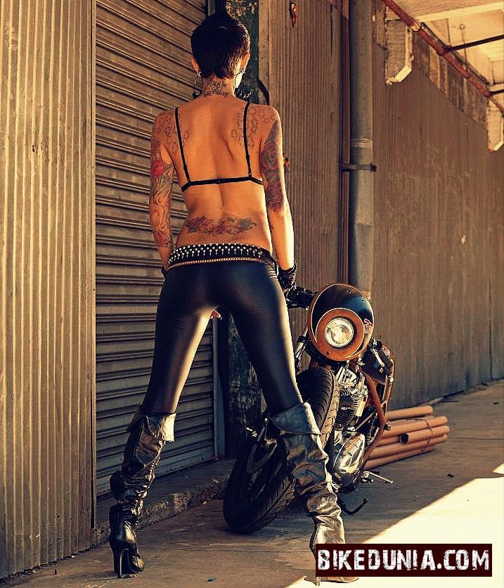 Biker Girl Back Tattoo