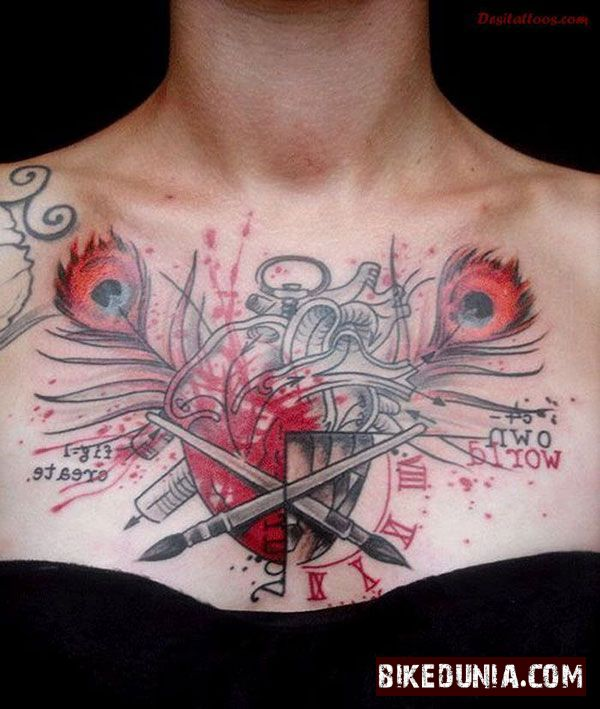 Biker Girl Heart Tattoo